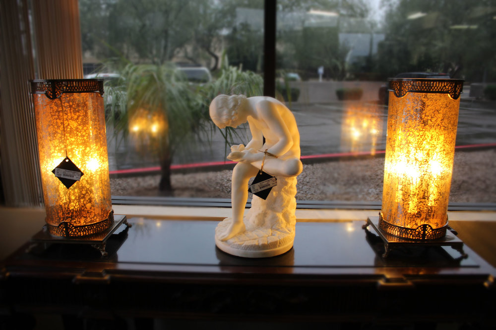 Pair of Mercury Glass Hurricane Lamps