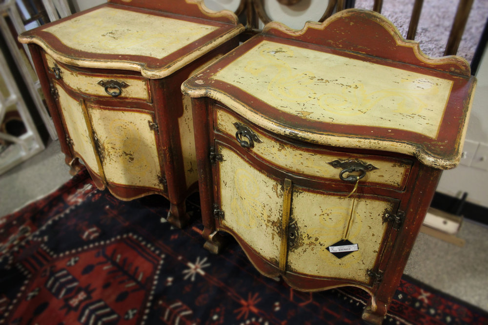 Pair of Painted Red & Yellow Nightstands