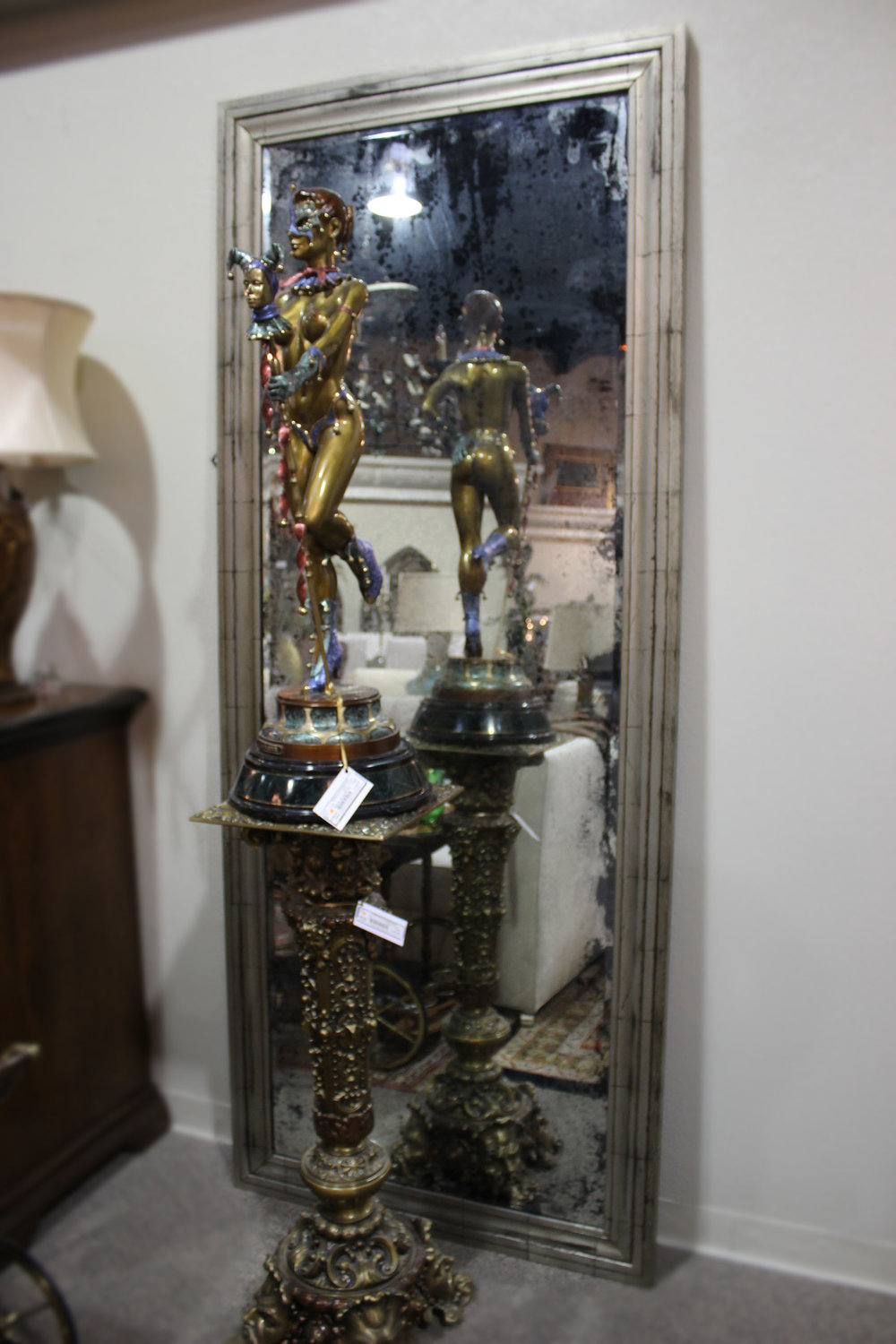 Weathered Silver Mirrored Frame Mirror