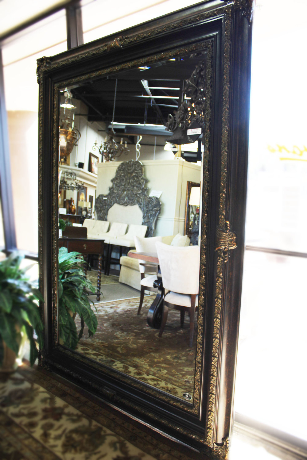 Black & Brown Mirror with Gold Embellishments