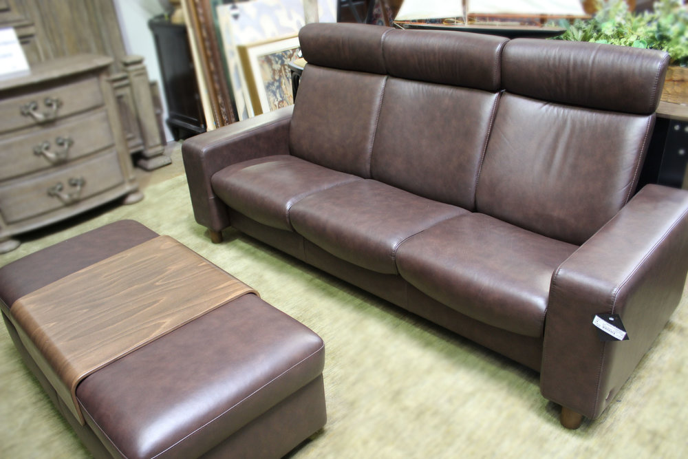 Copenhagen Brown Leather Recliner Sofa with Ottoman
