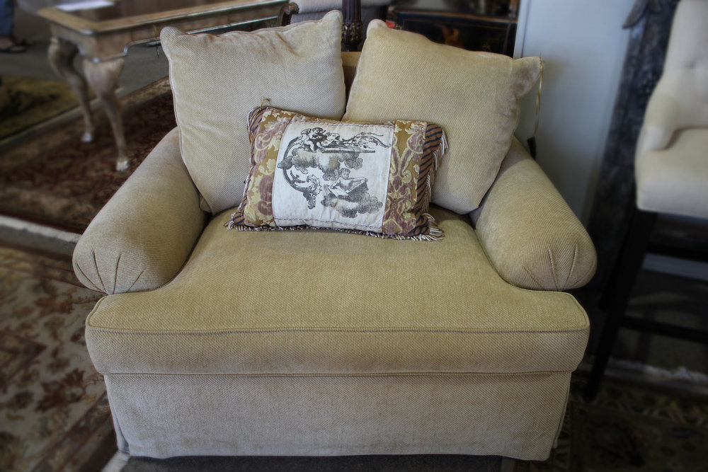 Cream Rolled Arm Chair & 1/2