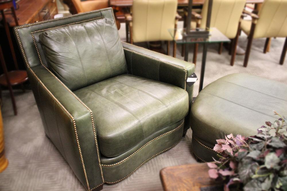 Ferguson Copeland Green Leather Chair & Ottoman