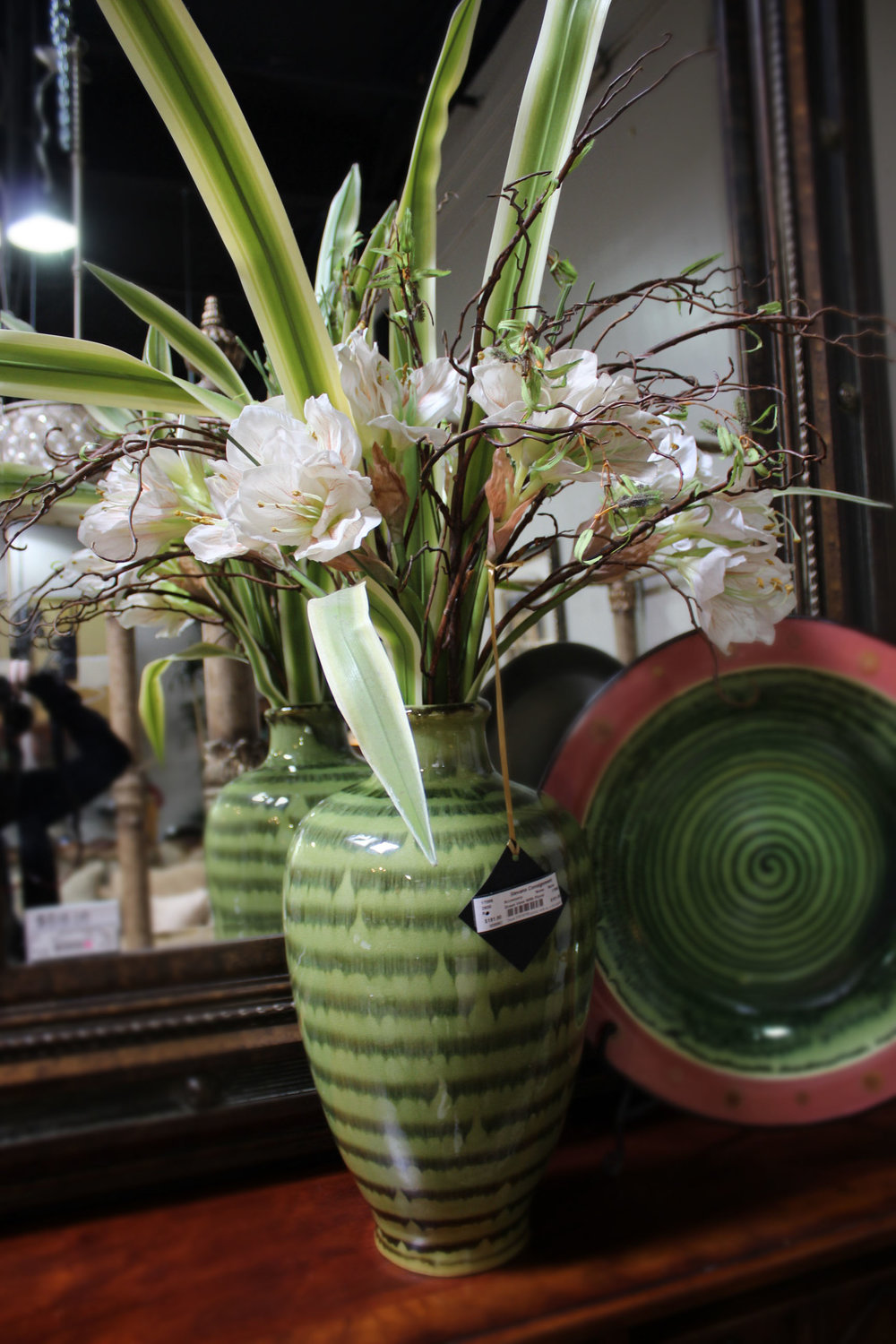 Green Vase with Floral