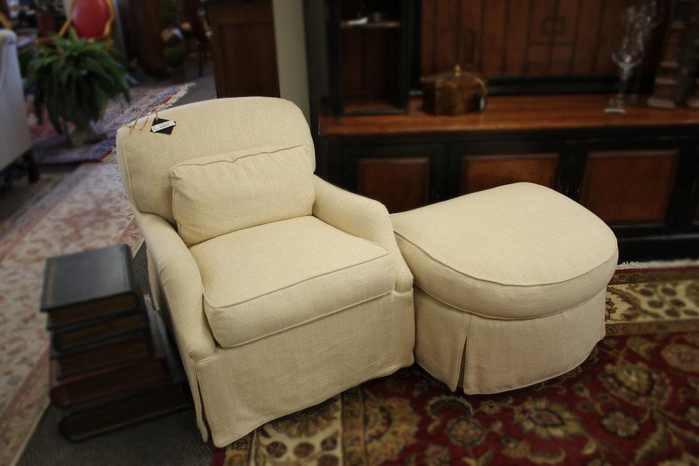 Linen Chair & Ottoman AS IS
