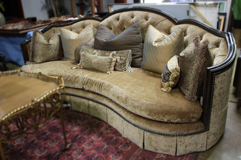 Marge Carson Carved Tufted Sofa