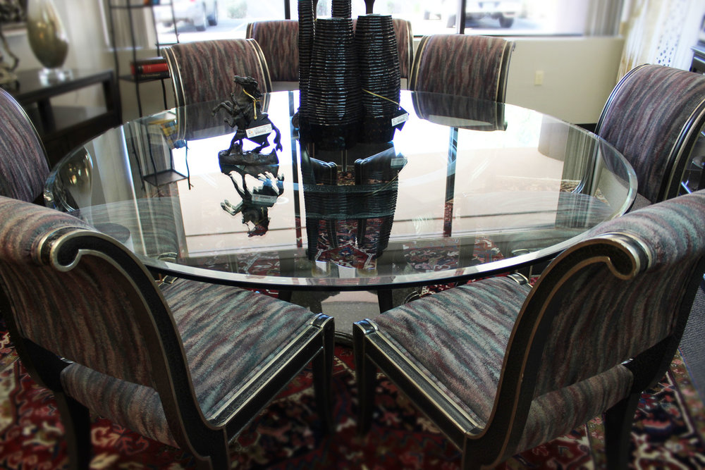 Marge Carson Round Glass Dining Table with 8 Black & Silver Chairs
