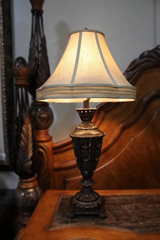 Pair of Ornate Urn Lamps with Rhinestones