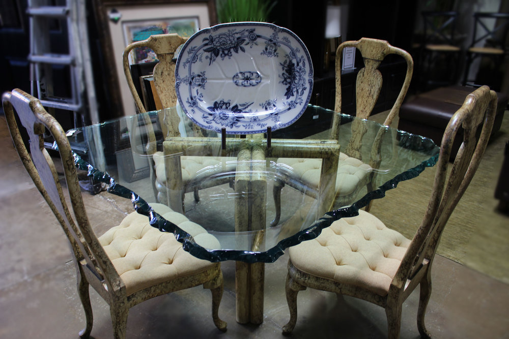 Phyllis Morris  Square Chopped Edge Glass Dining Table with 4 Queen Anne Dining Chairs
