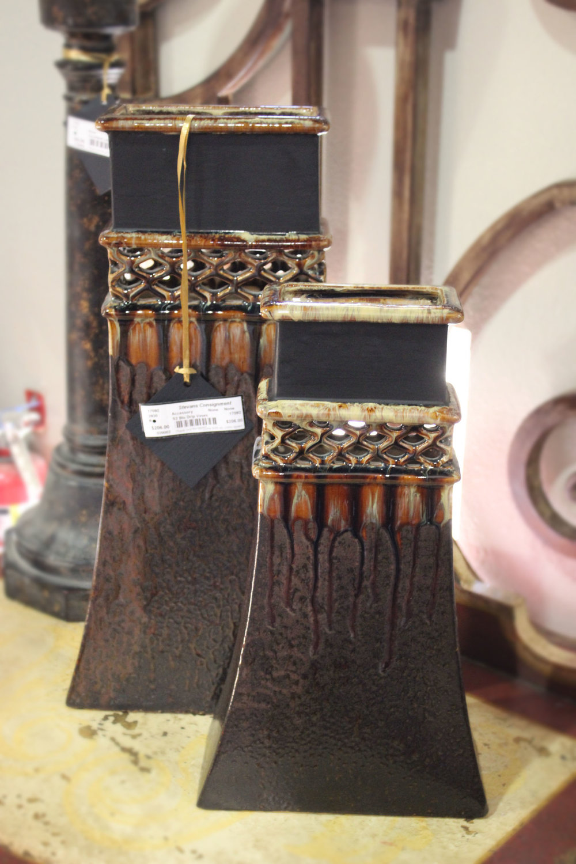 Set of 2 Brown Drip Vases