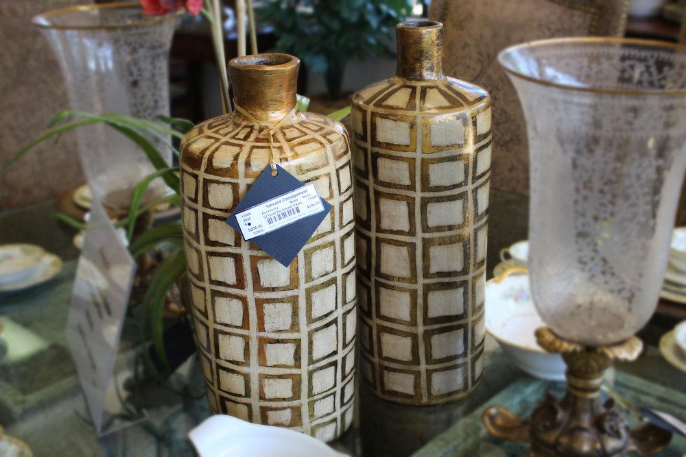 Set of 2 Gold Square Cream Vases