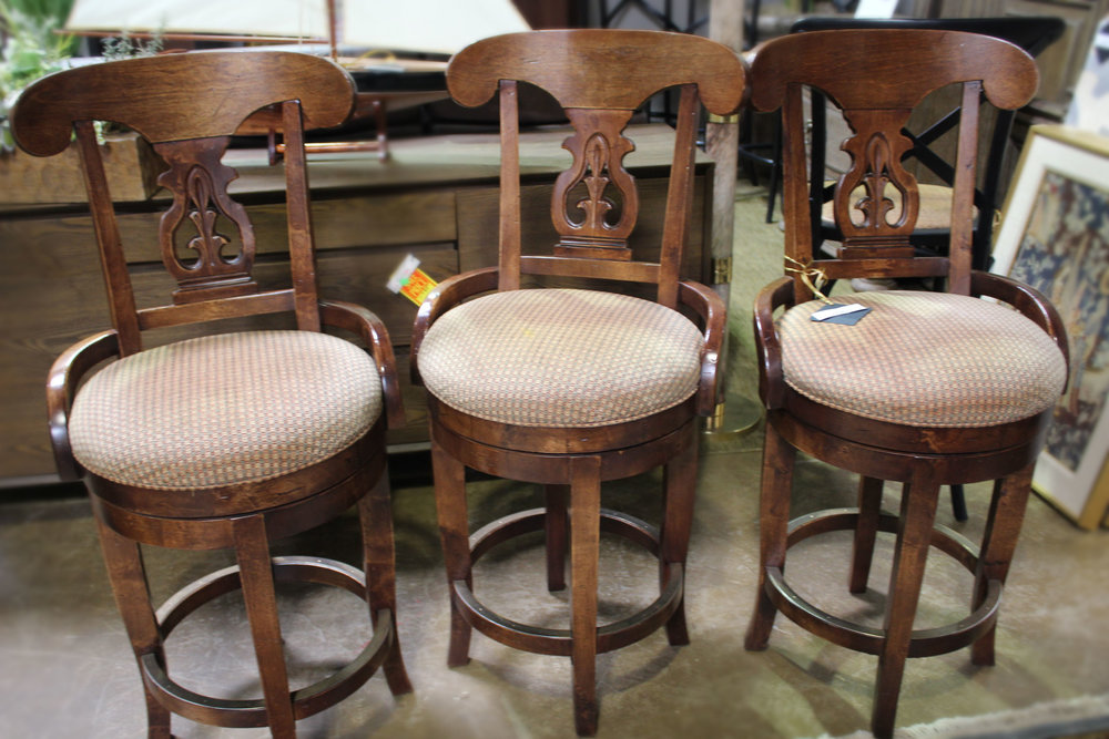 Set of 3 Swivel Checked Barstools