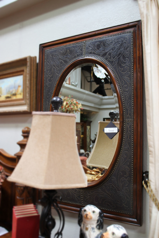 Theodore Alexander Pair of Embellished Metal Mirrors