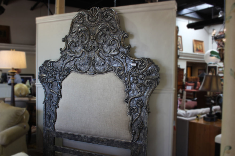 Queen Silver Ornate Custom Bed
