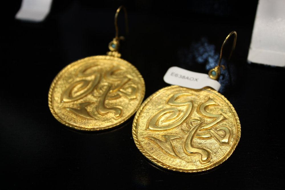 24 K Gold Plated Brass Earrings with Turquoise