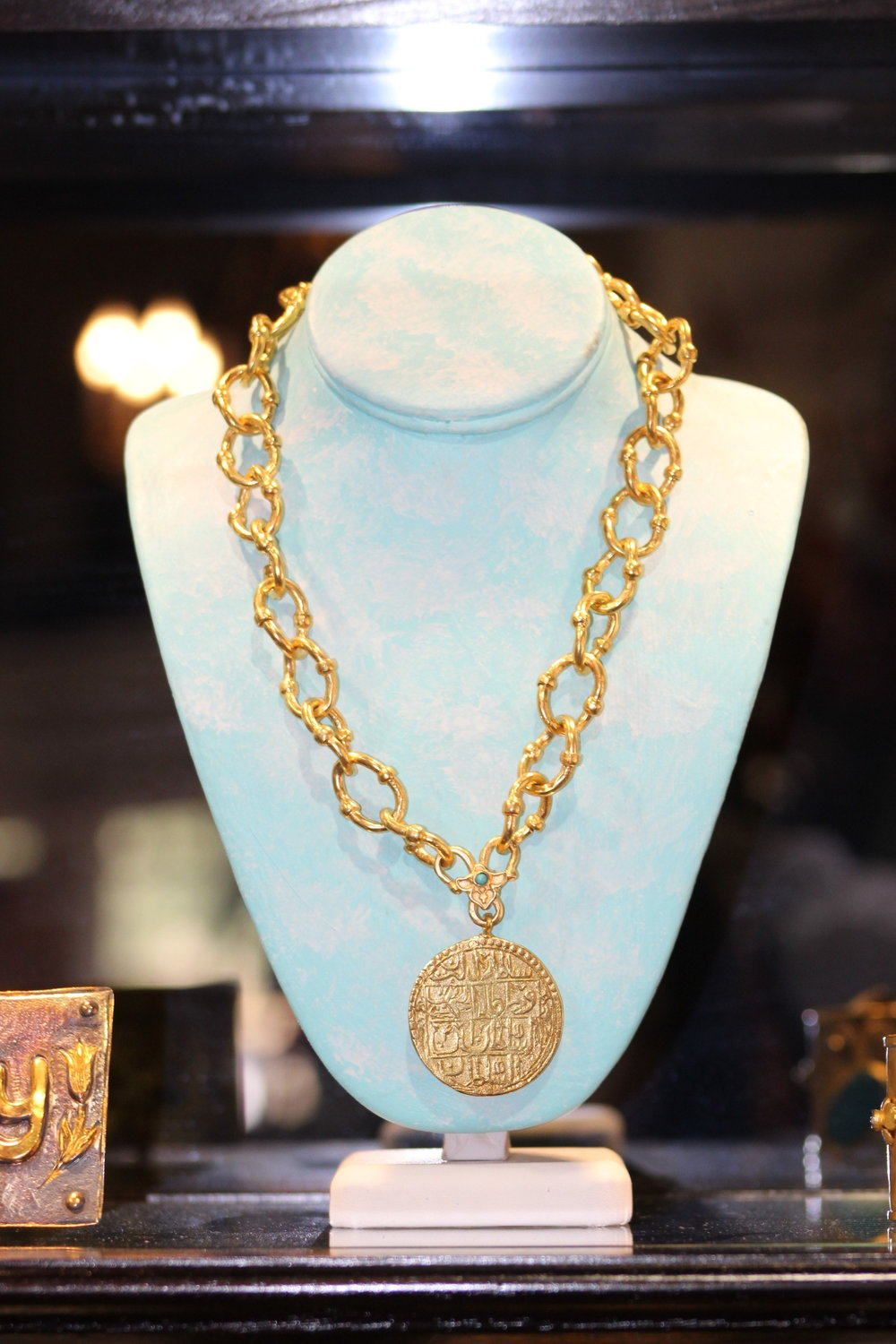 Tughra Gold Link Necklace with Turquoise