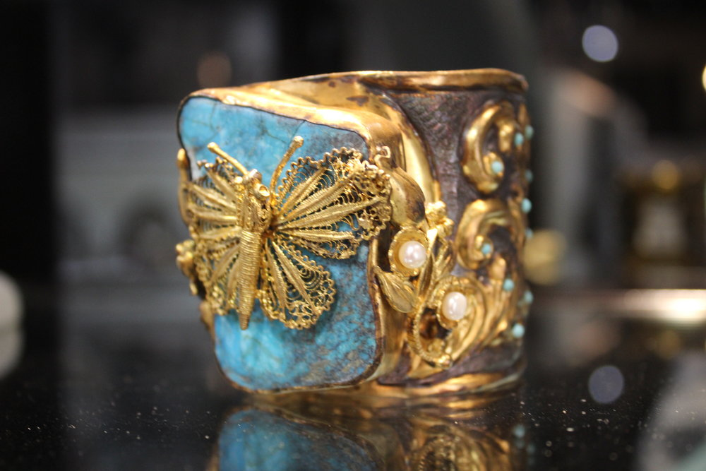 Turquoise & Gold Butterfly Cuff