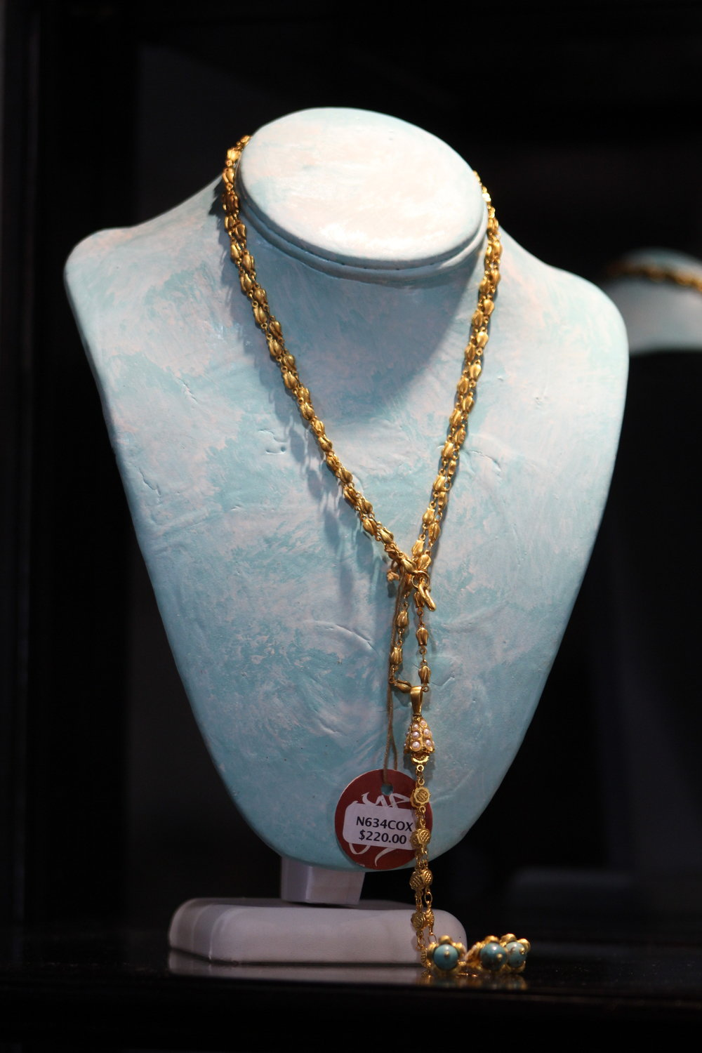 Gold Necklace with Turquoise & Pearls