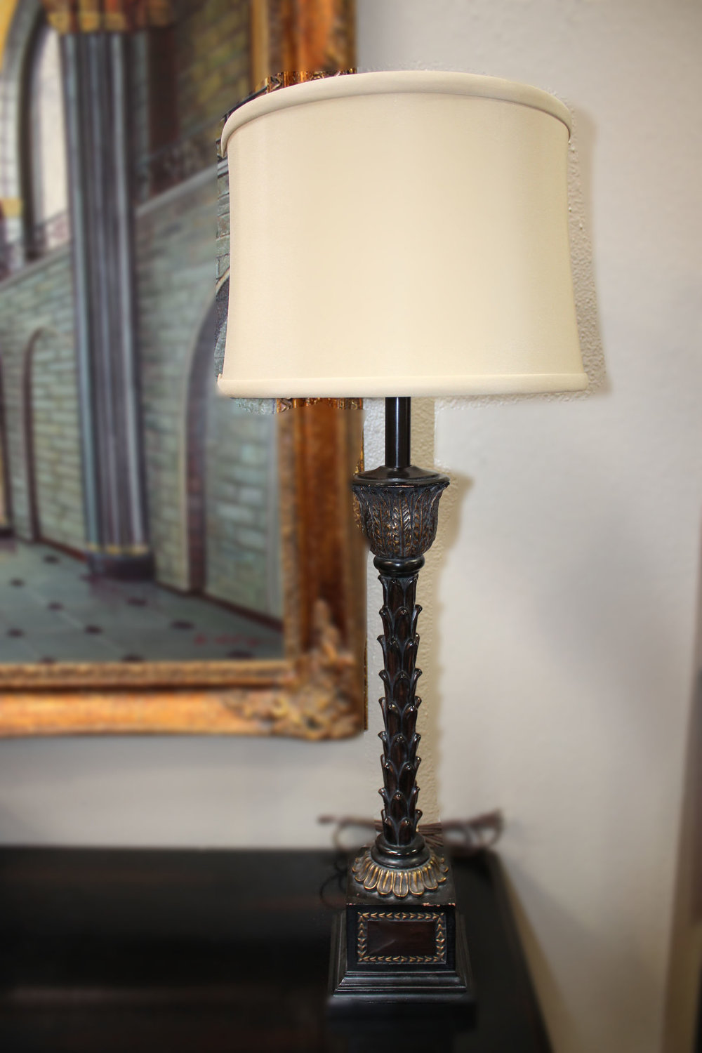 Pair of Black Carved Candlestick Lamps