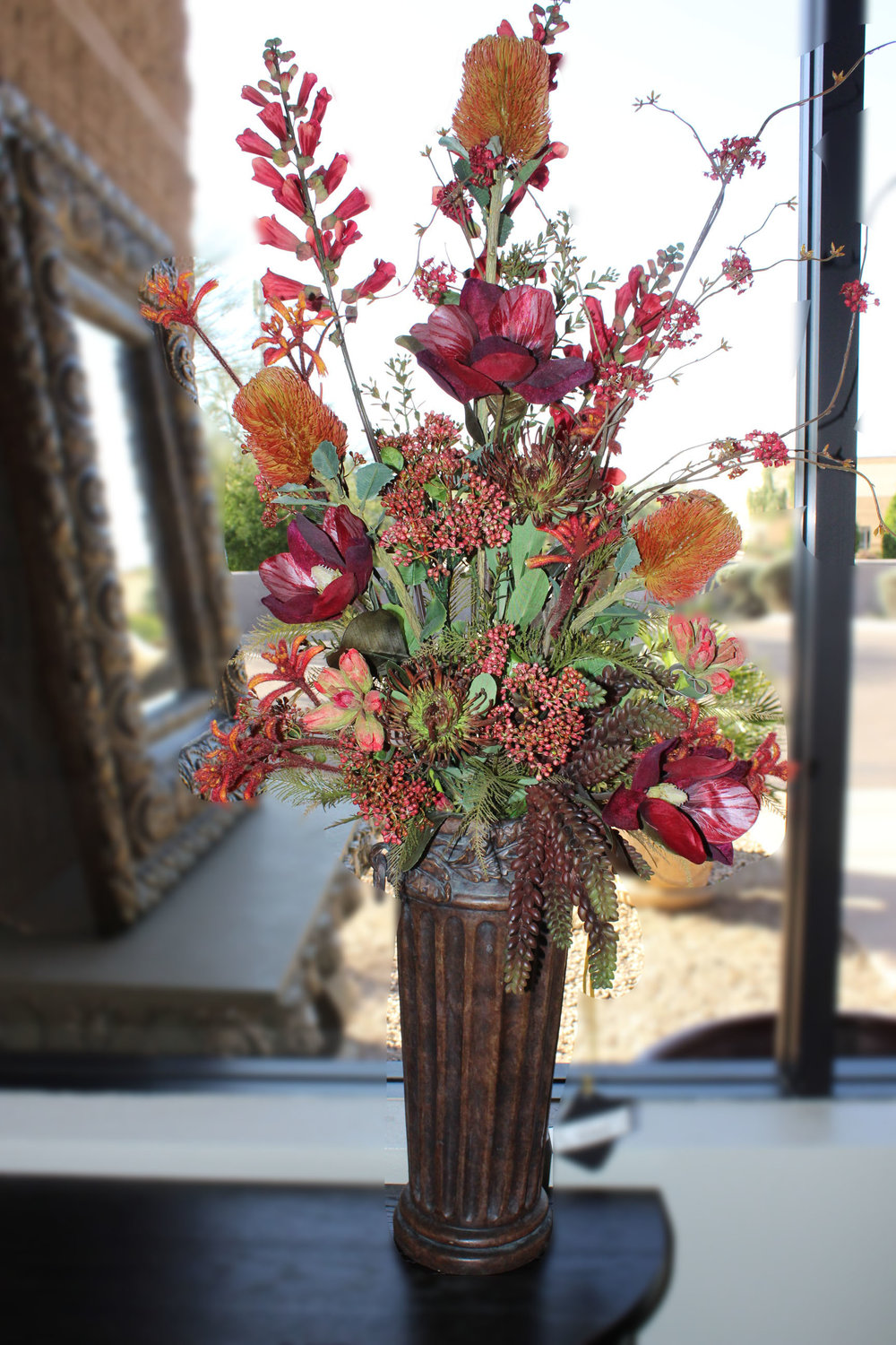 Pair of Brown Vases with Florals