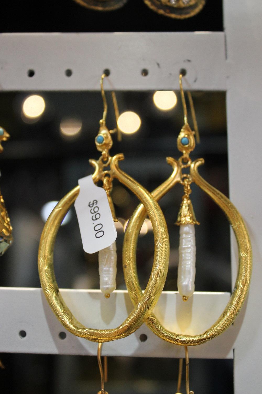 Gold Hoop Earrings with Pearl Pendant