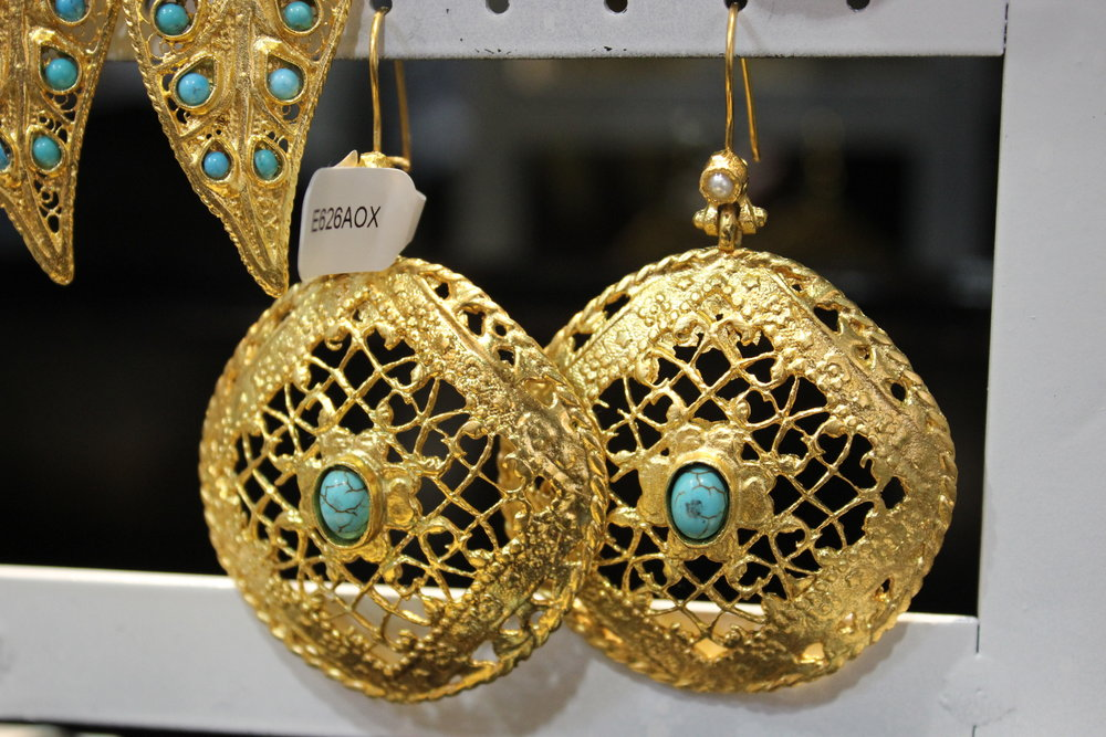 Exotic 24 K Gold Earrings with Turquoise