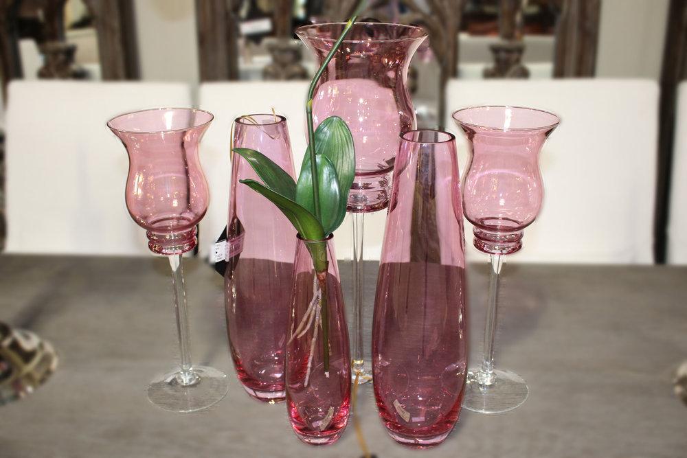 Set of 3 Long Stem Pink Glass Vases &  Set of 3 Pink Glass Vases