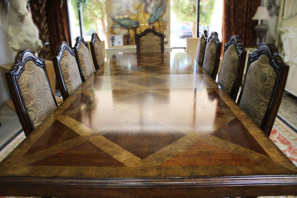 Tressel Dining Table with 2 Leaves AS IS