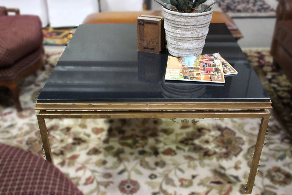 Gold Metal Cocktail Table with Black Granite Top