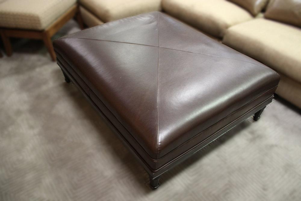 Kravet Brown Leather Ottoman