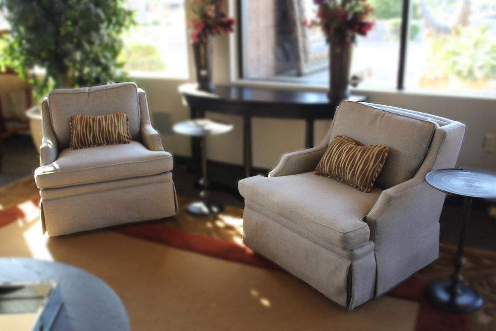 Pair Grey Linen Swivel Chairs