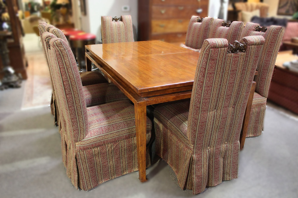 Bausman & Company Rustic Wood & Iron Trestle Table & 8 Parsons Chairs with Carved Accents