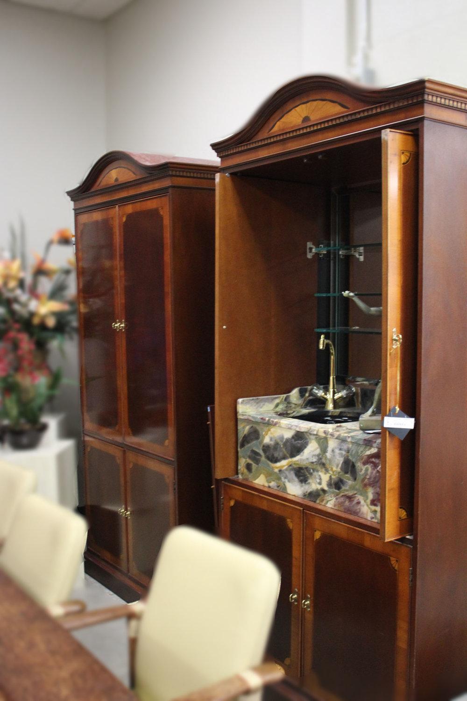 Set of 2 Marble Bar & Tv Cabinet