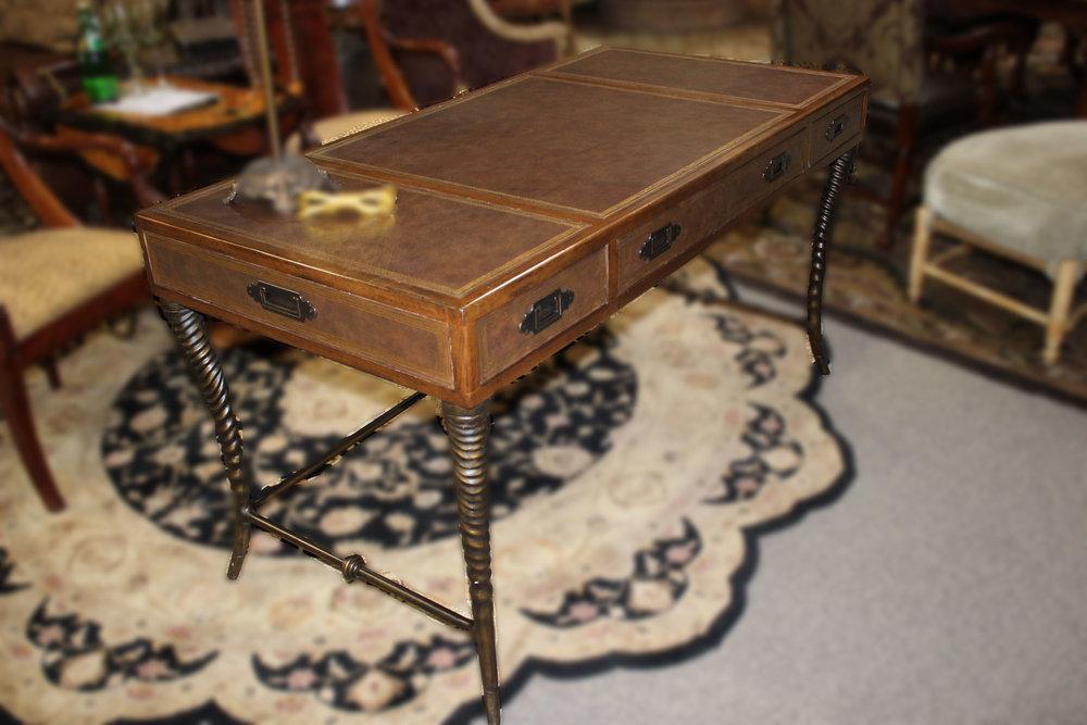 Thomasville Leather Horn Leg Desk