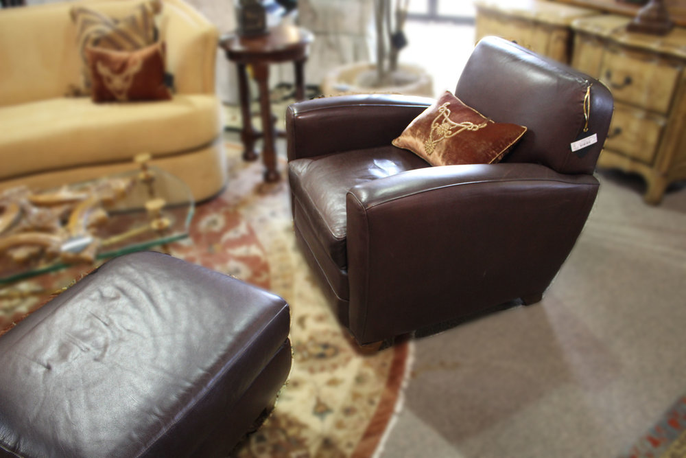 Mitchell Gold Restoration Hardware Leather Chair & Ottoman