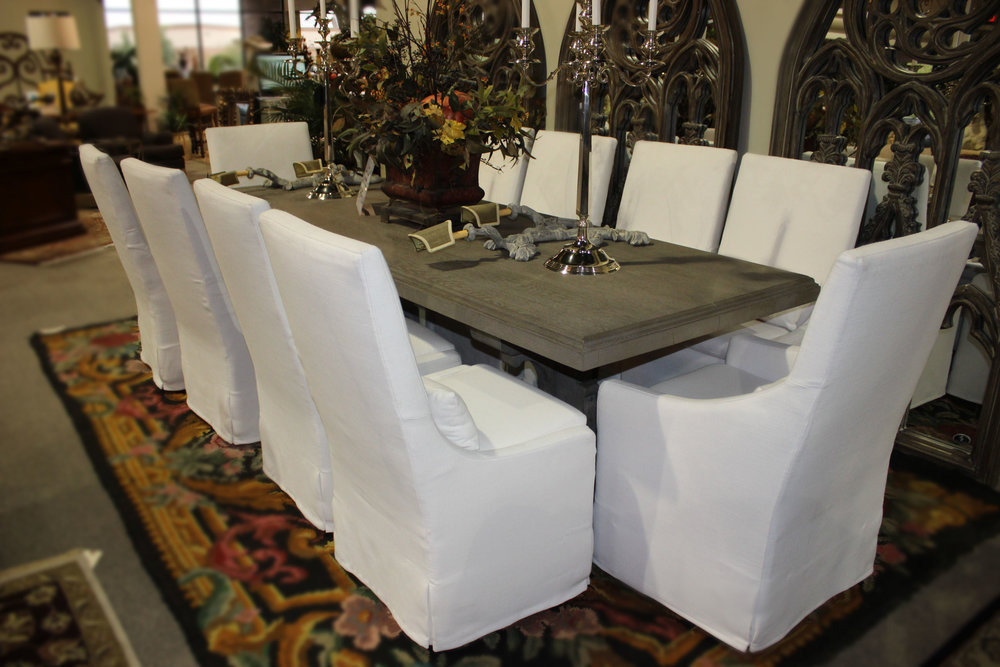 Restoration Hardware Rustic Grey Table & Set of 10 White Parsons Chairs