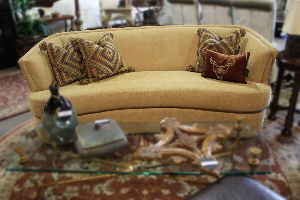Wheat Chenille Round Back Sofa