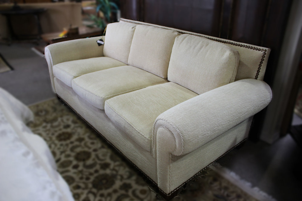 Chenille Cream Sofa with Nailheads