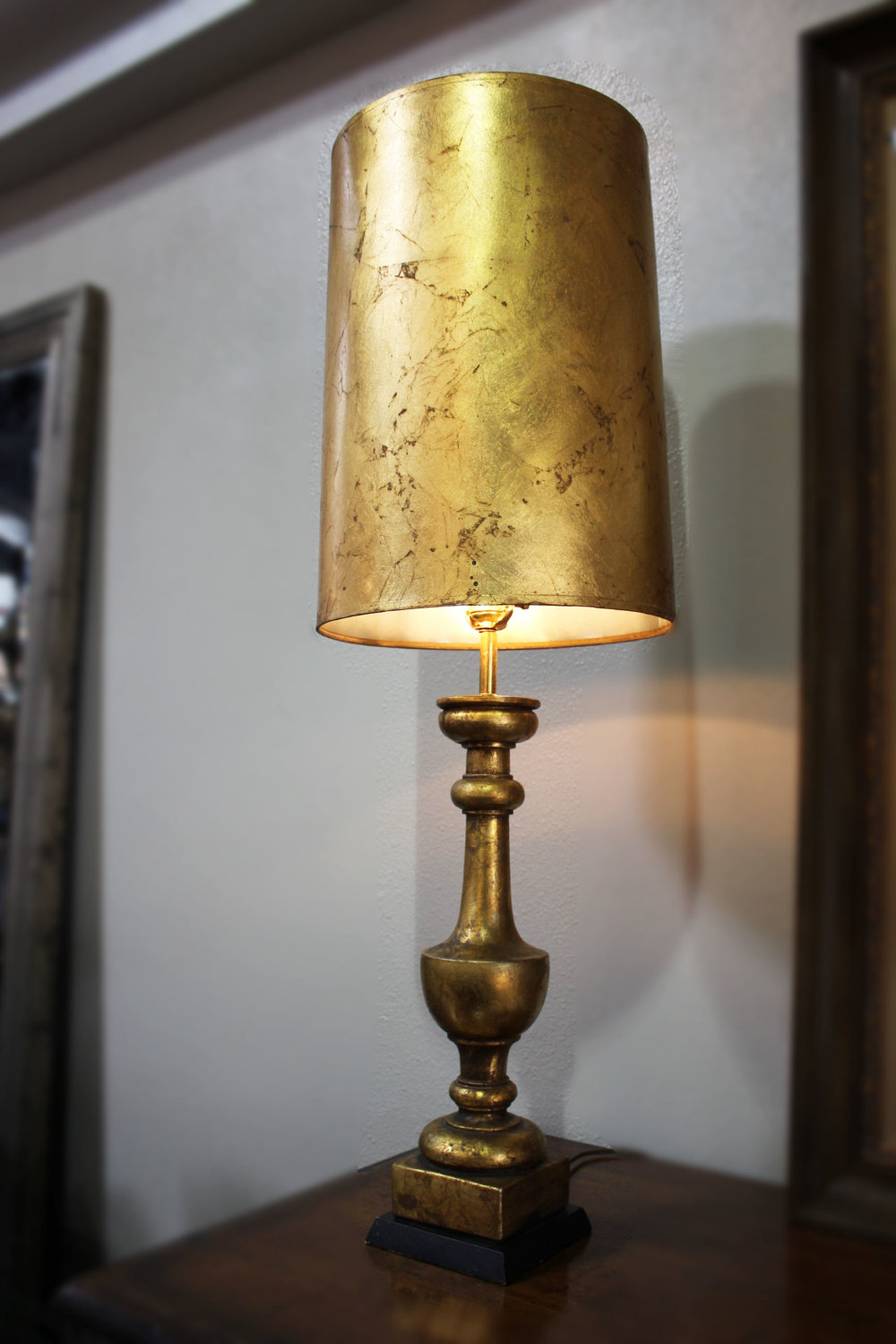 Pair of Tall Gold Leaf Lamps