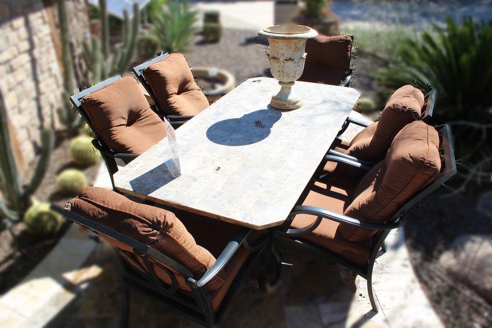 Mallin Outdoor Marble Top Table with 6 Chairs
