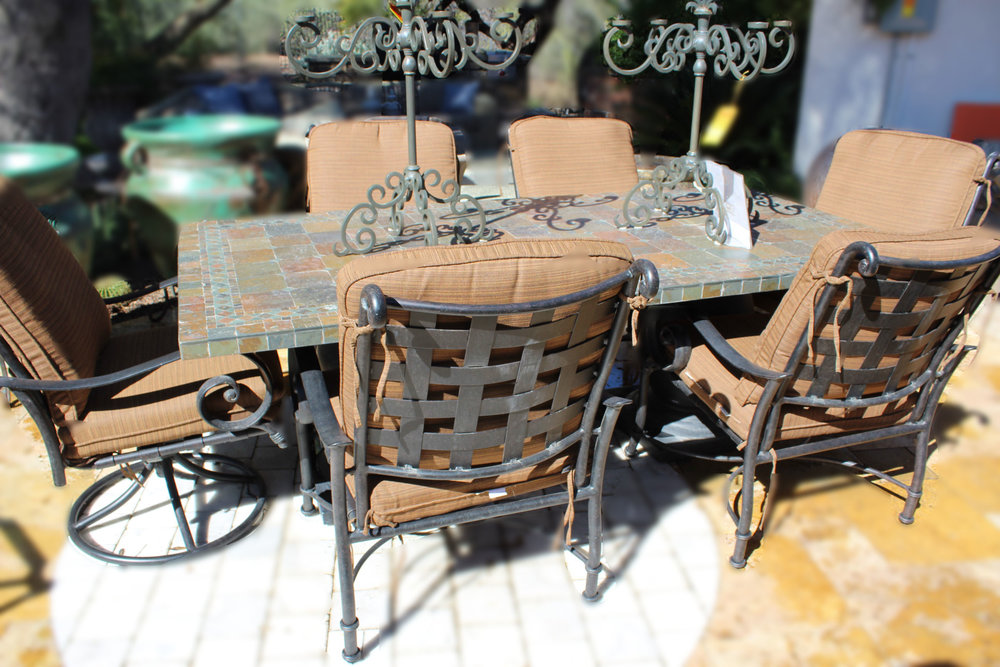 OW Lee Stone Top Table & 6 Chairs
