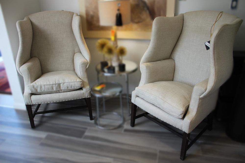 Restoration Hardware Pair of Wingback Nailhead Chairs