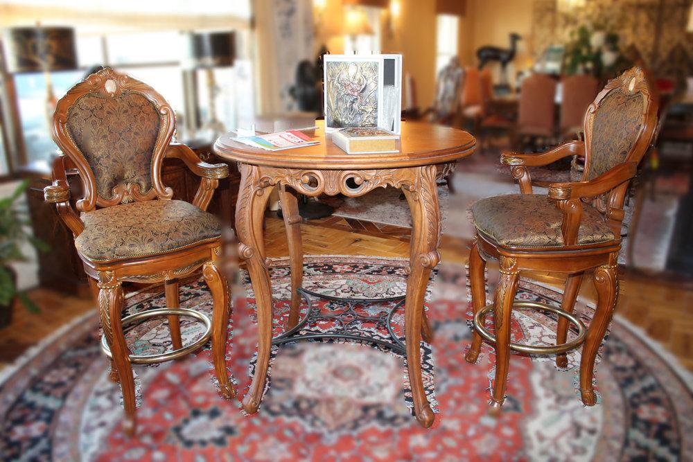 AICO Ornate Pub Table with 2 Barstools