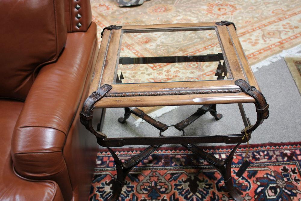 Metal Wood Glass Western End Table