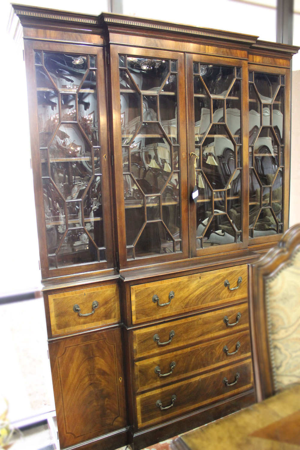Antique Bowed Glass China Cabinet