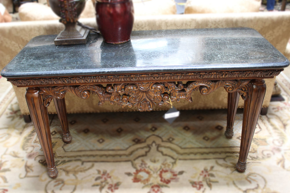 Black Marble Top Ornate Carved Console
