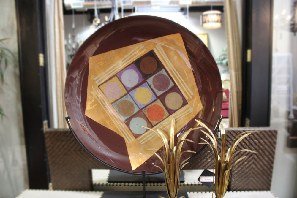 Painted Glass Plate on Stand