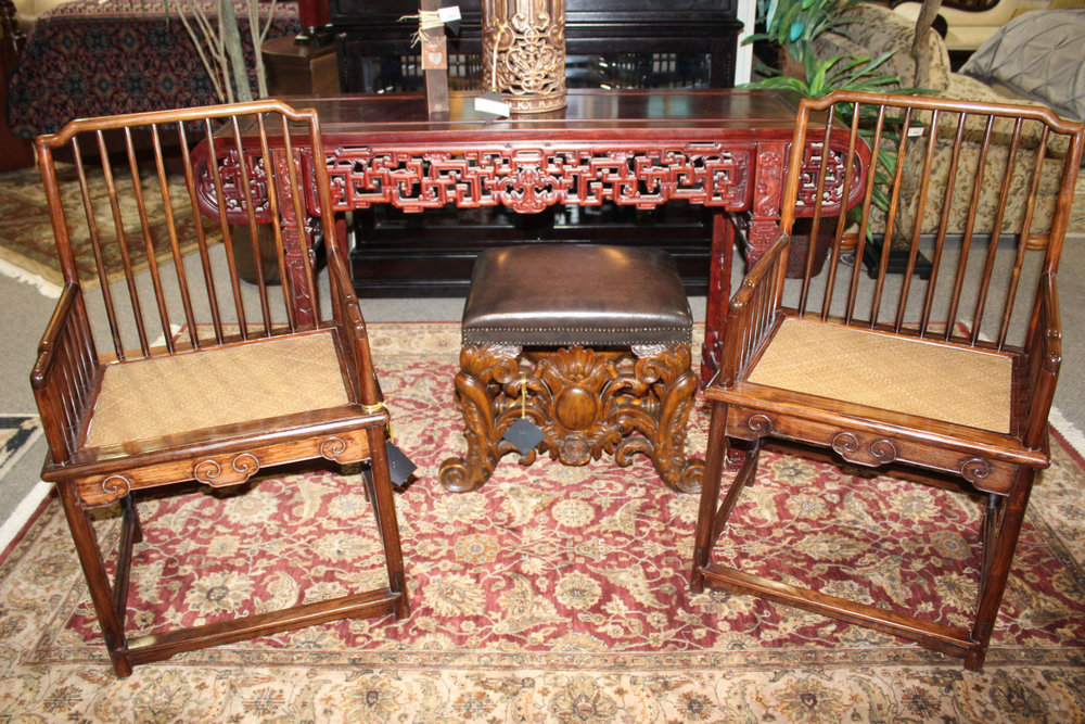Pair of Asian Rosewood Arm Chairs
