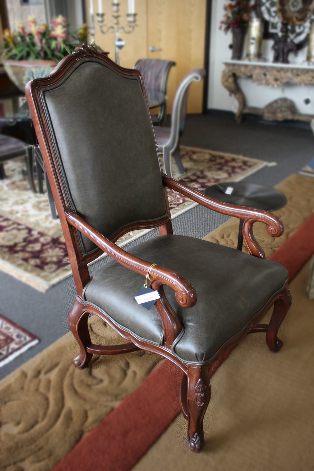 Pair of Charcoal Leather Wood Arm Chairs