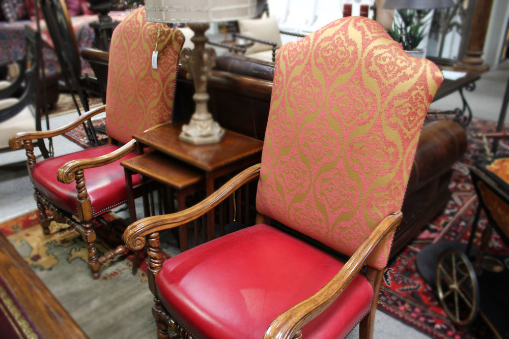 Pair of Red Paisley Arm Chairs